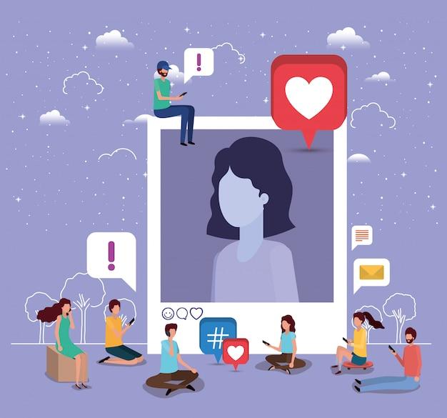 Comunidade social com a foto do perfil de mulher
