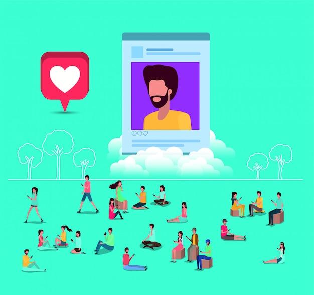 Comunidade social com a foto do perfil do homem