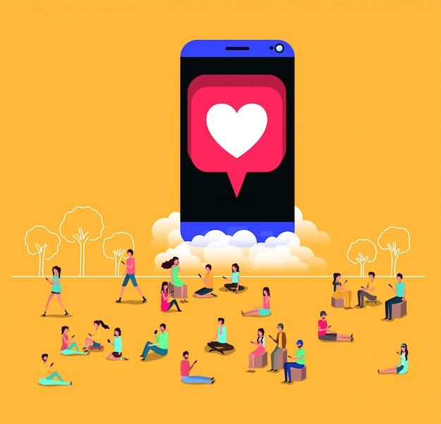 Comunidade social com smartphone