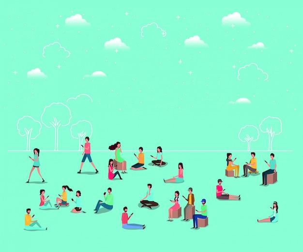 Comunidade social usando smartphones