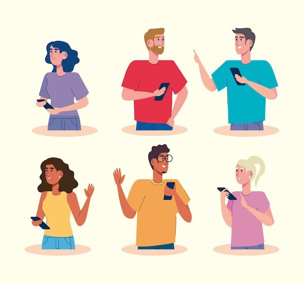 Comunidade usando ilustração de personagens de avatares em smartphones