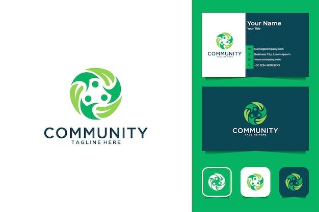 Comunidade verde com pessoas e design de logotipo de folha e cartão de visita