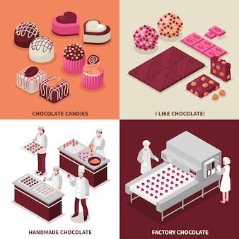 Conceito 2x2 de fabricação de chocolate com pessoas fazendo bombons de chocolate manualmente e no transportador de fábrica isométrico