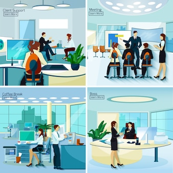Conceito 2x2 de pessoas de escritório