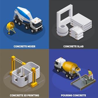 Conceito 2x2 isométrico de produção de concreto com unidades de mistura de cimento de transporte e instalações industriais com texto
