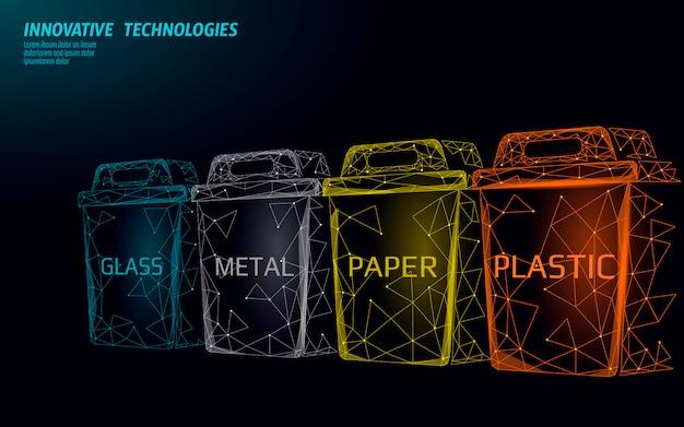 Conceito 3d de separação de resíduos de baixo poli. o lixo recicl o escaninho plástico do recipiente de vidro do papel de alumínio. campanha poligonal ecológica salvar planeta. ilustração de movimento de lixo urbano