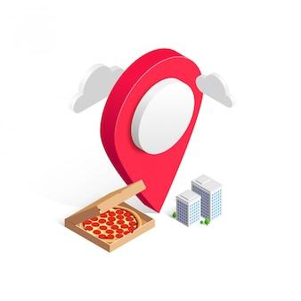 Conceito 3d de serviço de entrega de fast food online. pizza isométrica na caixa, ponteiro do mapa, edifícios da cidade isolados no fundo branco. ilustração para web, anúncio, menu italiano, aplicativo móvel