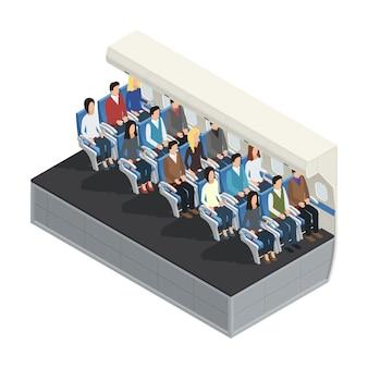 Conceito 3d isométrico interior de avião colorido com passageiros sentados na ilustração vetorial de placa