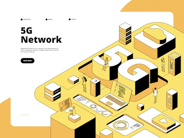 Conceito 5g. tecnologia de transmissão wi-fi 5g, velocidade de internet no smartphone. página de destino do vetor isométrico do ponto de acesso da rede global