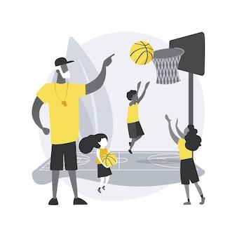 Conceito abstrato de acampamento de basquete
