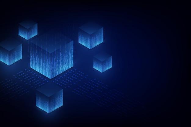 Conceito abstrato de blockchain de rede de circuito