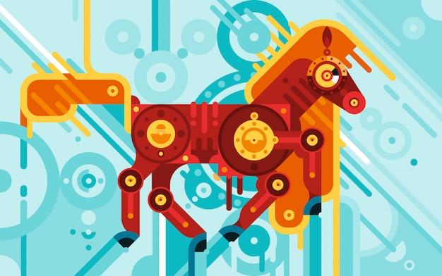 Conceito abstrato de cavalo mecânico