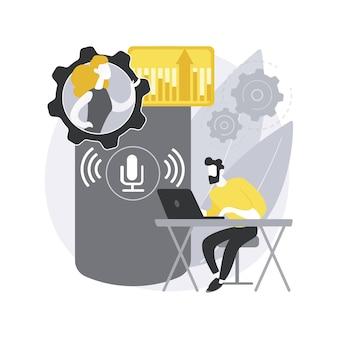Conceito abstrato de controlador de escritório com alto-falante inteligente