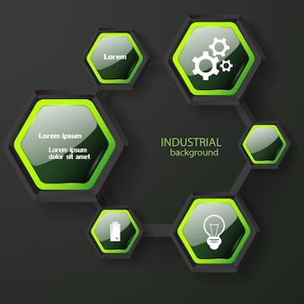 Conceito abstrato de infográfico com hexágonos escuros brilhantes com ícones e texto branco de borda verde