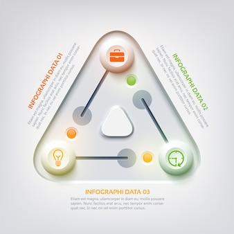 Conceito abstrato de infográfico da web com painel triangular, controles deslizantes coloridos três opções e ícones de negócios