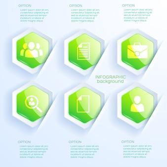 Conceito abstrato de infográfico de negócios com ícones de texto e seis hexágonos verdes brilhantes