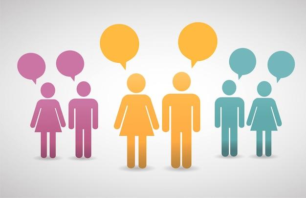 Conceito abstrato de pessoas falando