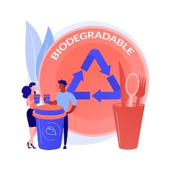 Conceito abstrato de talheres descartáveis biodegradáveis