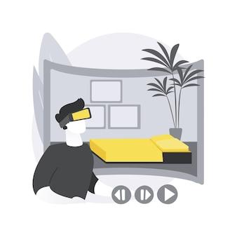 Conceito abstrato do tour virtual imobiliário