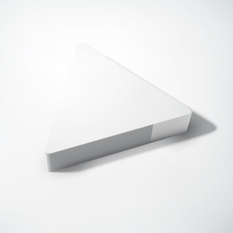 Conceito abstrato geométrico em branco com triângulo realista cinza 3d na luz isolada