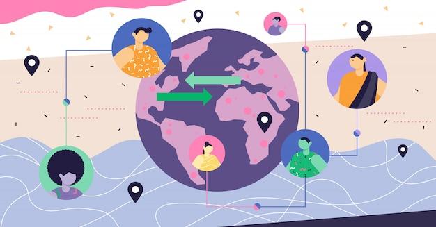 Conceito abstrato moderno de globalização