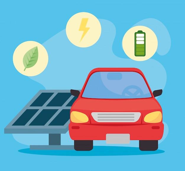 Conceito ambientalmente amigável, carro elétrico, com ícones de benefícios do projeto de ilustração vetorial amigável do carro eco