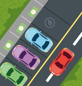 Conceito ambientalmente amigável, vista aérea de carros elétricos no projeto de ilustração vetorial de estacionamento