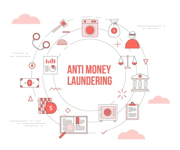 Conceito aml anti-lavagem de dinheiro com conjunto de banner de modelo com formato circular redondo