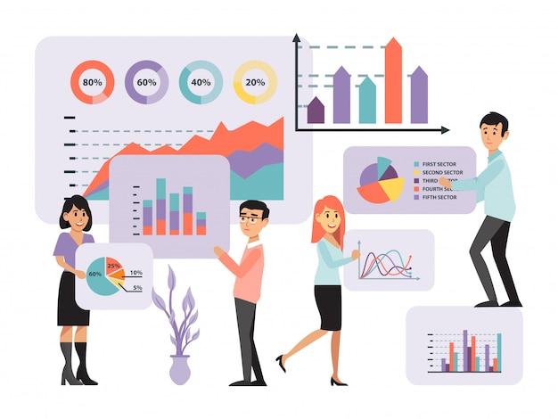 Conceito analítico, coleta de informações, negócio de análise de dados infográfico, ilustração dos desenhos animados. homens, mulheres, trabalhadores de escritório.