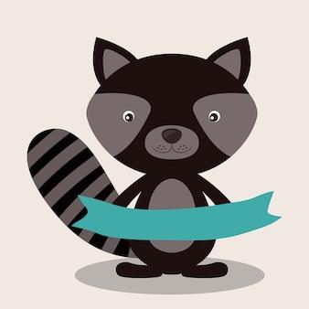 Conceito animal pouco sobre design raccon bonito