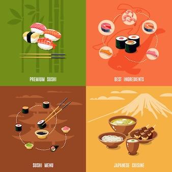 Conceito asiático de design de comida