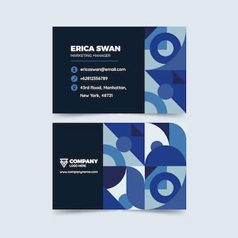 Conceito azul clássico para modelo de cartão