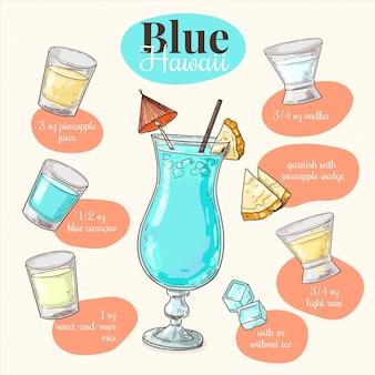 Conceito azul da receita do cocktail de havaí
