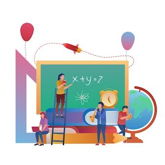 Conceito básico de estudante aprendendo junto