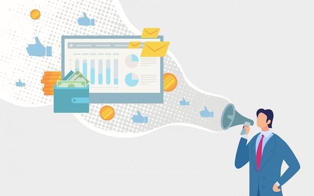 Conceito bem sucedido da estratégia de marketing de digitas