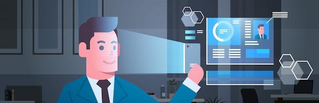 Conceito biométrico moderno do reconhecimento da identificação da cara do homem de negócio da exploração do sistema de segurança