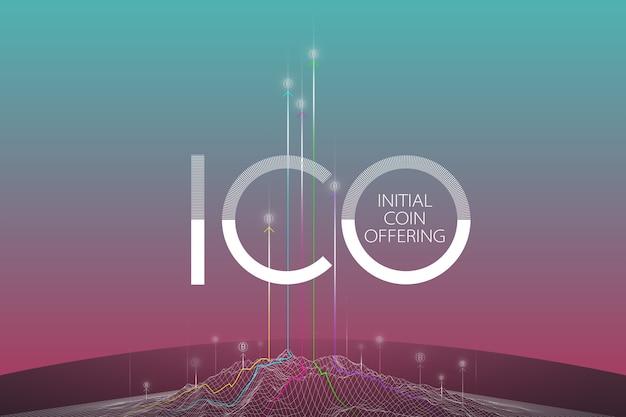 Conceito blockchain, tecnologia blockchain. ico (oferta de moeda inicial), cripto moeda t