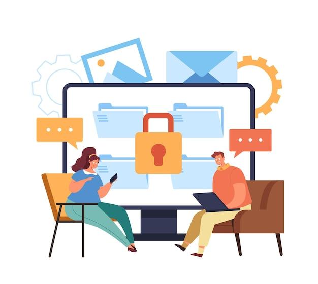Conceito bloqueado de mensagem segura de transferência de dados de internet online