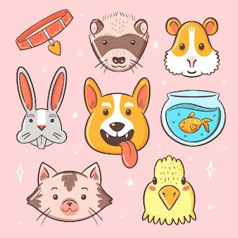 Conceito bonito animais de estimação diferentes