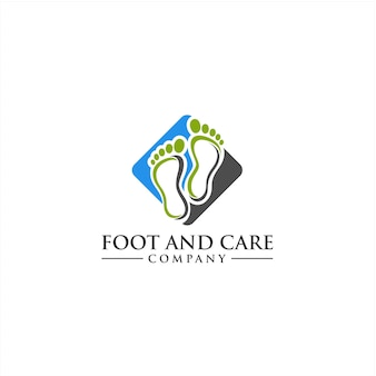 Conceito bonito do logotipo do pé e do cuidado