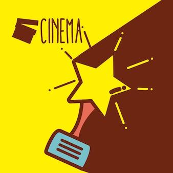 Conceito bonito dos desenhos animados do cinema do prêmio da estrela