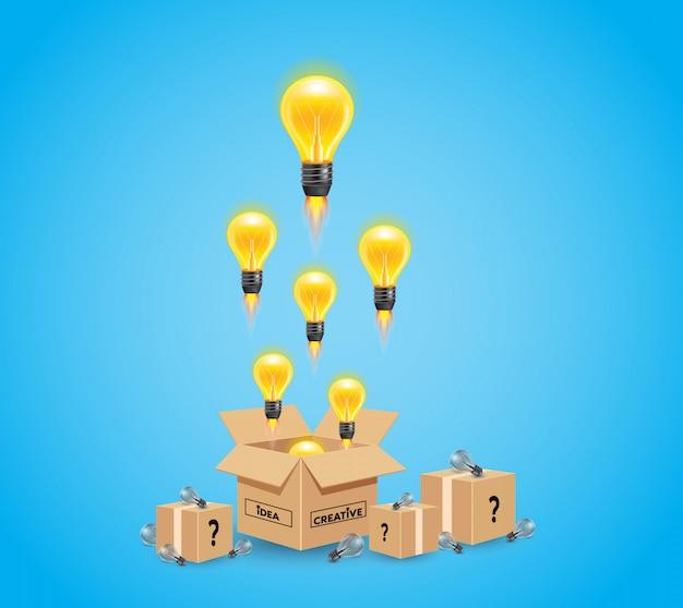 Conceito brilhante de idéia e insight com lâmpada amarela
