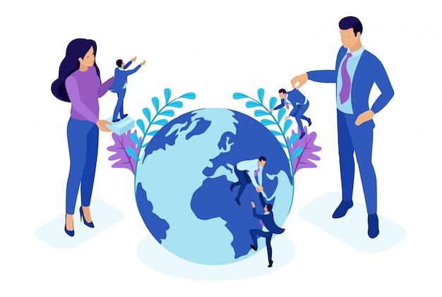 Conceito brilhante isométrico o grande chefe escolhe pessoas pequenas e as coloca ao redor do mundo. conceito para web