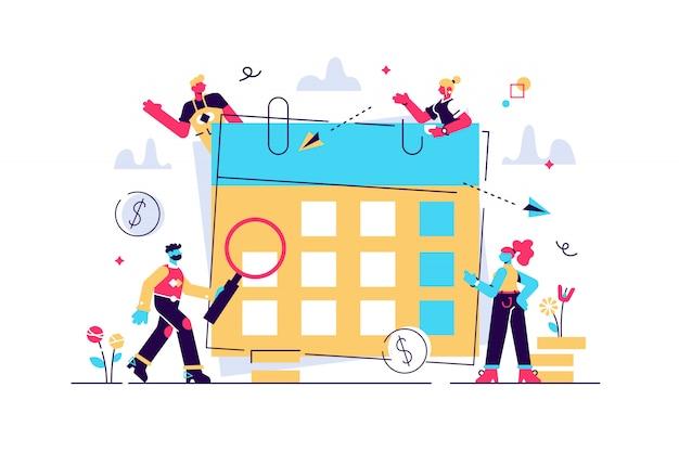 Conceito calendário financeiro, planejamento financeiro. ilustração planejamento de orçamento mensal, planejamento financeiro, trabalho em equipe