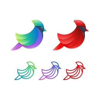 Conceito cardinal da ilustração do projeto do logotipo do pássaro.