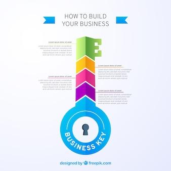 Conceito chave de negócios com design infográfico