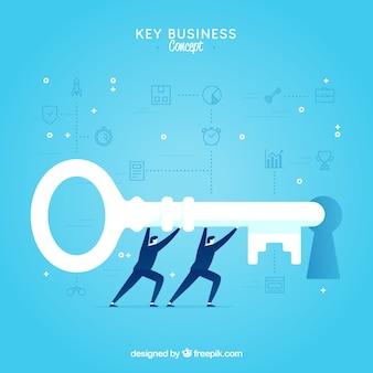 Conceito chave de negócios com design plano