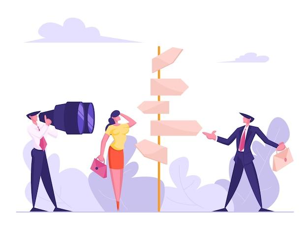 Conceito choice way com executivos confusos em pé no road pointer