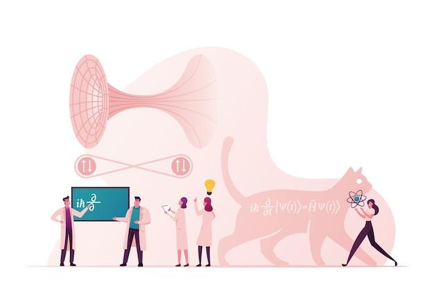 Conceito científico com personagens de minúsculos cientistas resolvem fórmulas fundamentais da mecânica quântica, equação do gato de schrodinger, teoria quântica de campos e ilustração de túneis
