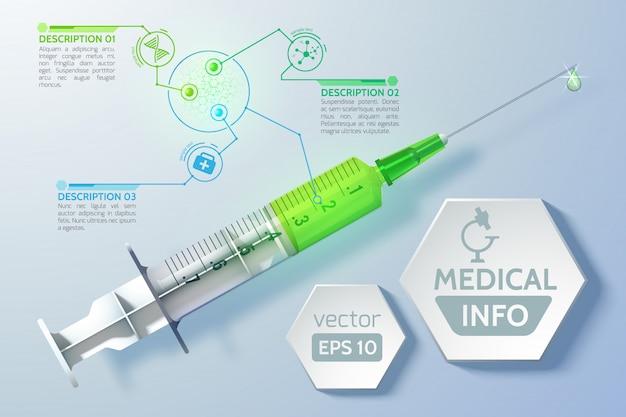 Conceito científico médico com hexágonos de cronograma de seringa em estilo realista